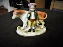 "ANTIQUE SMALL FIGURINE BOY WITH HIS COW CHELSEA GOLD ANCHOR MARK 4"" COW TLC HORN"